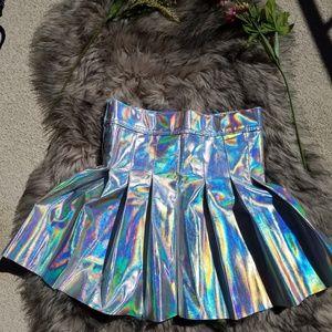 Dresses & Skirts - Holographic mini skater skirt